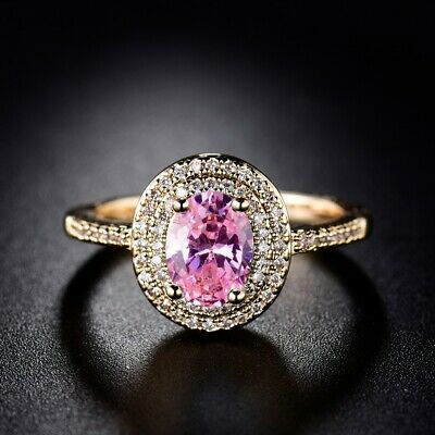 Sweet Pink Crystal Women Engagement Rings Gold Filled Ladies Oval Rhinestone CZ