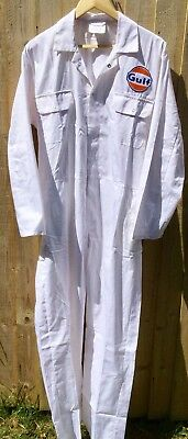 """Rare Fine Goodwood Revival Vintage Style Gulf Badged Overalls 50"""" Chest"""