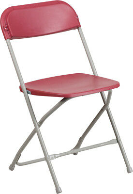 (10 PACK) 650 Lbs Capacity Commercial Quality Burgundy Plastic Folding Chairs