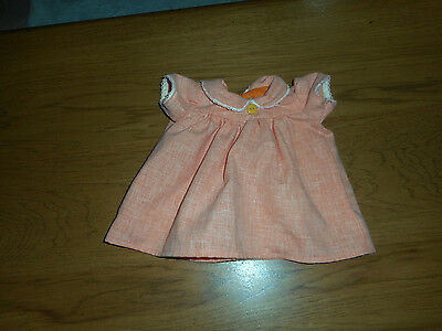 """Orange Dress With Lace And Button Fits 15"""" Baby Doll   (New)"""