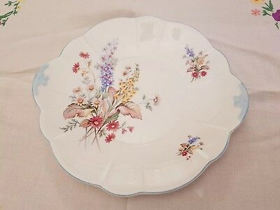 Vintage pretty Windsor blue edge floral bone china cake plate vgc