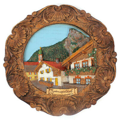 Vintage Passion Play Oberammergau Baveria German Resin Woodlike Wall Plaque 1980