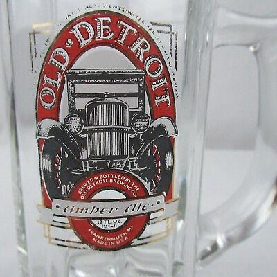 Retired Frankenmuth Brewery Old Detroit Amber Ale 12 Ounce Beer Mug Glass USA