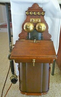 Wonderful Antique Estate Ericsson Timber And Brass Wall Telephone Original C1910