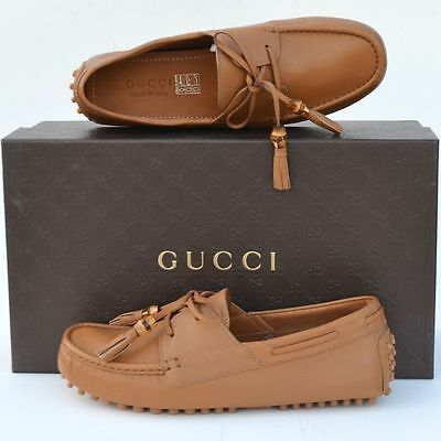 1b7df1505dd GUCCI New sz 6 G - US 6.5 Authentic Designer Mens Drivers Loafers Shoes  Brown