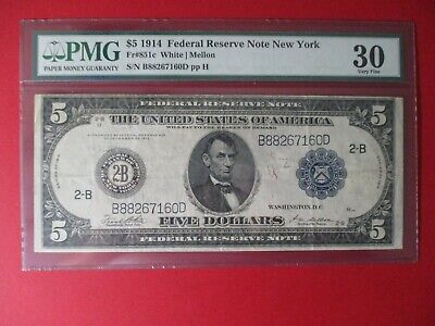 1914 $5 Federal Reserve Note Fr # 851c Very Fine PMG 30