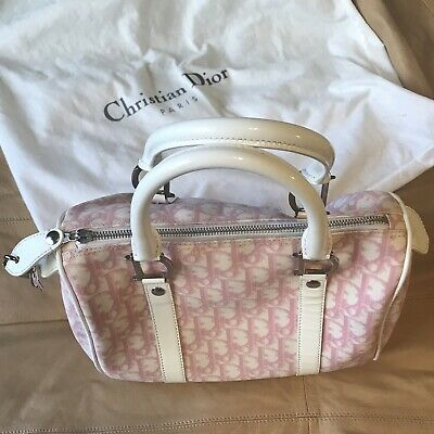 VINTAGE CHRISTIAN DIOR Trotter Monogram Speedy Boston Bag Pink White ... be5d5e37decaf