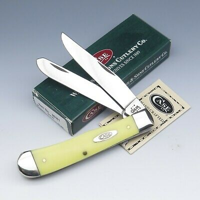 2002 Case Tested XX USA 3254 SS Yellow Pattern 54 2 Blade Trapper Pocket Knife