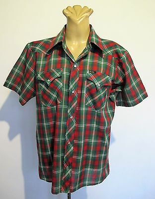 SHIRT Short sleeve WESTERN Green Check Plaid Genuine VINTAGE SzOS Cowboy Hipster