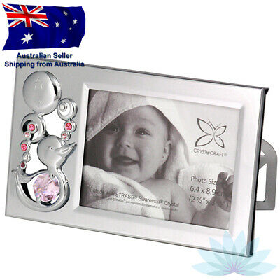 CRYSTOCRAFT Baby Girl Photo Frame with SWAROVSKI Crystals