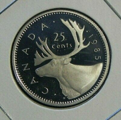 1985 PROOF CANADIAN Canada Quarter 25 Twenty Five Cent Caribou Elizabeth II
