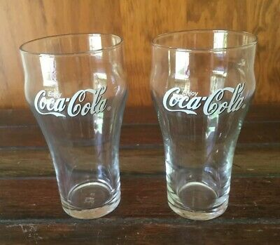 Coca Cola Coke 360ml X 2 Drinking Glasses (Crown Glass) Excellent Condition