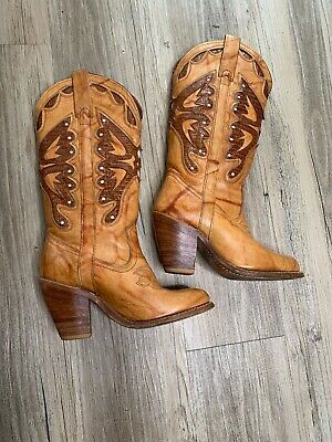 fe3ad6e8b65 WOMENS VTG MISS Capezio Tall Heel Brn Leather Butterfly Cowboy Western  Boots 5M