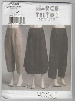 Vogue Sewing Pattern V8499 Marcy Tilton Miss Easy Skirt and Pants Sz 6-12