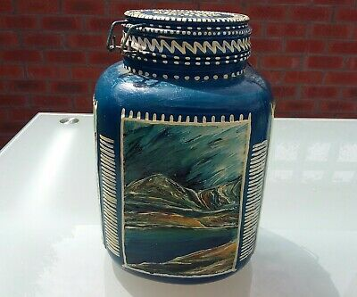 Handpainted Folk Art Glass Buiscuit Barrell..oil Paintings On Glass.signed