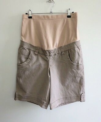 Jeanswest Women's Size 8 Maternity Shorts Over Belly Band Beige Cotton Elastane