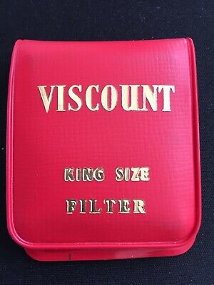 VINTAGE RED FLIP POUCH VISCOUNT CIGARETTE ADVERTISING MATCHES with MIRROR