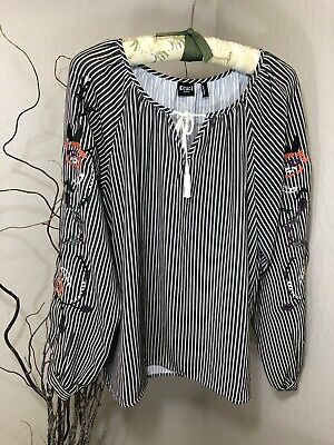 db7199130 CRUEL GIRL DENIM Large TOP Blouse WESTERN COWGIRL Rodeo Embroidered TAUPE  Stripe