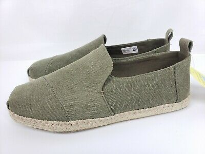 ccfd33d9049 TOMS Deconstructed Alpargata Rope Olive Washed Canvas Mens Shoes Size 10 NEW