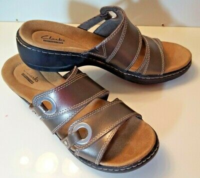 c132736462c Clarks Women s Hayla Acadia Slide Sandals Pewter Leather 26107413 size 8.5 M