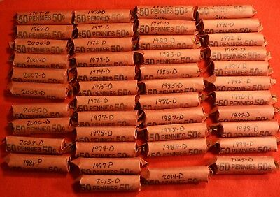 1990-D Lincoln Memorial Cent Penny 50 Coin Roll Circulated