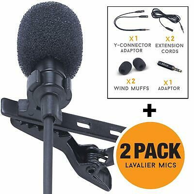 Lavalier Lapel Microphone Complete Set - Omnidirectional Mic, 2-Pack