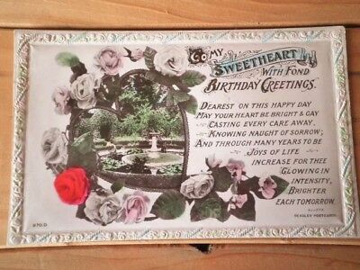 Antique Birthday Postcard Embossed Edge Used Beagles Early 1900's Sweetheart