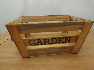 BNWT Small Rustic Garden Wooden Crate with Rope Handles (Gift Presentation)