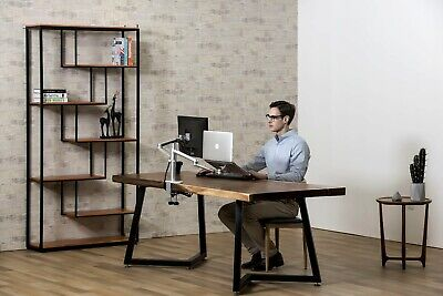 """2 in1 360º turn height adjust laptop(11-17"""")  & Monitor(13-27"""") stand mount-Silv"""