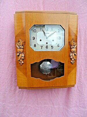 OLD FRENCH WOODEN CASED CHIMING WALL CLOCK BY MANUFRANCE ST ETIENNE c1963 GWO