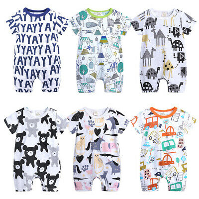 Newborn Baby Boy Cotton Romper Jumpsuit Outfits Short Sleeve Clothes 0~18 Months
