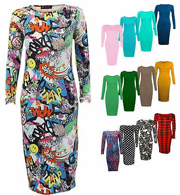 New Women Ladies Long Sleeve Stretchy Body Con Printed Midi Dress Size 8 to 26