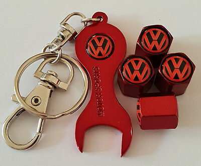 Vw Volkswagon Red Dust Valve Caps & Keychain All Models Retail Pack T5 T4 T6
