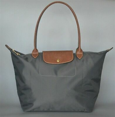 4d51de2bacce Auth Longchamp Graphite Le Pliage Nylon Large Tote Bag Leather Strap Handles