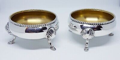A Pair Of Antique Victorian Solid Silver Cauldron Shaped Salts.
