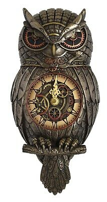 Veronese Bronze Figurine Steam Punk Steampunk Art Owl Wall Hanging Clock