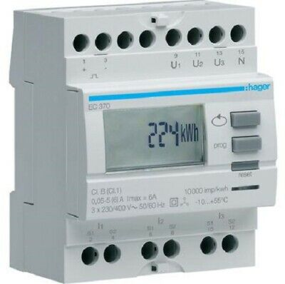 Hager KILOWATT-HOUR METER HAGEC370 230V 50-60Hz 20A 3-Phase Via CT