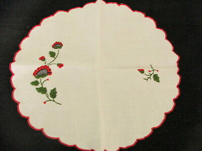 Vintage Hand Embroidered Round Doilies With Scallop Edging X 2 ~ 40 cm X 38 cm