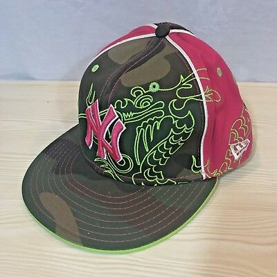 New Era MLB 59Fifty Fitted New York Yankees Size 7 3 8 Pink Dragon Camo e20e078bc65
