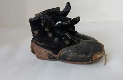 Antique Victorian Velvet Leather High Top Button Baby Shoes Distressed Black