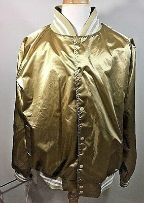 6ff89f6f348 NEW 3x Augusta Sportswear Gold Men s Front Pocket Satin Baseball Jacket A611