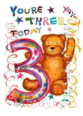 Birthday Card Three Teddy Cute 3 Year Old Girl Child Boy Children Kid Kids Son