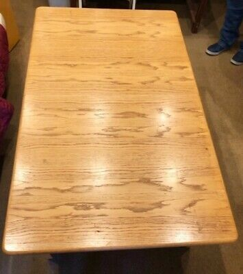 Lovely Extendable Oak Veneer Dining Table - Rectangular w/ rounded corner edges