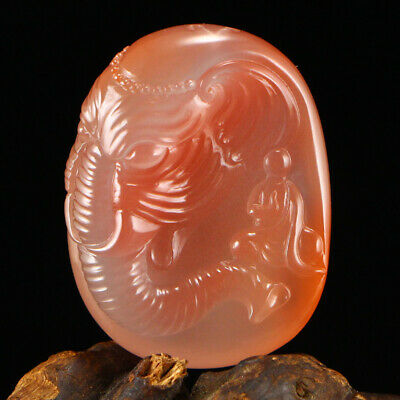 Asian China antique 100% Natural Southern red agate handcarved elephant Pendant