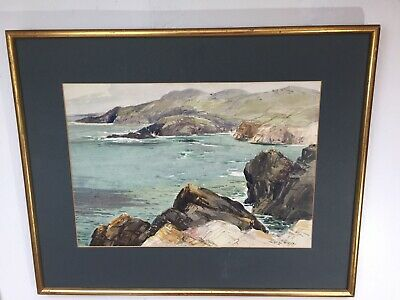 Rare Coastal Landscape Painting by Listed Artist Theodore James Gracey 1895-1959