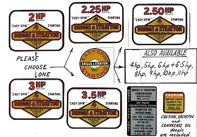 Briggs & Stratton Vintage Minibike Engine Decals