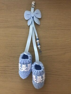 New - Hand Knitted Hanging Pram Charm - Blue Bootees - Boy