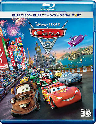 Disney*Pixar's Cars 2 (Blu-ray/DVD, 2011, 4-Disc Set; 3D)
