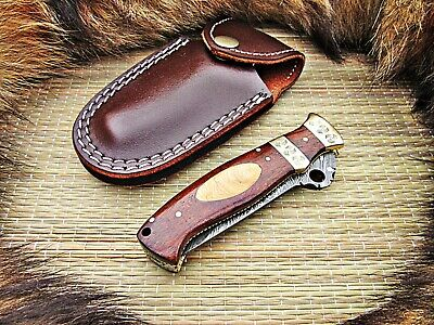Custom Handmade Damascus Steel Folding Knife Linerlock With Leather Sheath 28T64