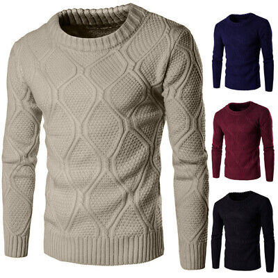 Crew Knitted Fashion Casual Sleeve Pullover Jumper Sweater Warmer Winter Slim